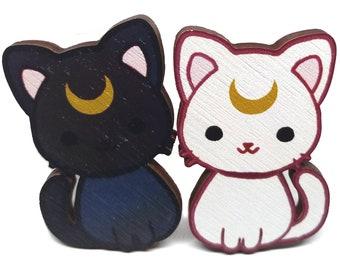 Luna and Artemis Wood Pins