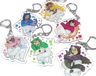VLD Glitter Epoxy Acrylic Keychain Charms Allura, Keith, Shiro, Lance, Pidge, Hunk