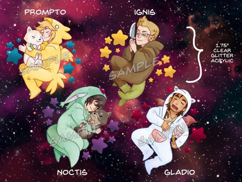 FFXV Glitter Charms Prompto Argentum, Gladiolus Amicitia, Ignis Scientia,  Noctis Lucis Caelum, Lunafreya Nox Fleuret, Ardyn Izunia