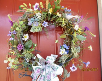 Summer Wreath for the front door, Wild Flowers Wreath, Mothers Day gift ,Large Grapevine Wreath, Floral Wreath, Floral Décor-Bluebird Wreath