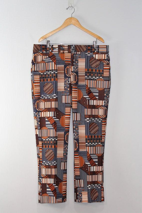 1970's Funky Polyester Pants / Disco / Print / Hi… - image 2