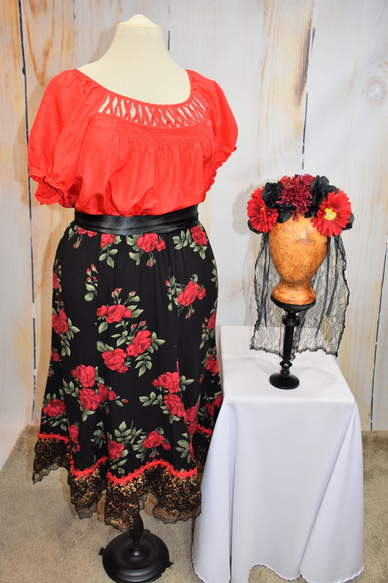 Day of the Dead Costume  D\u00eda de los Muertos  Mexican-Latino Style Costume-LARGE-X-LARGE L61