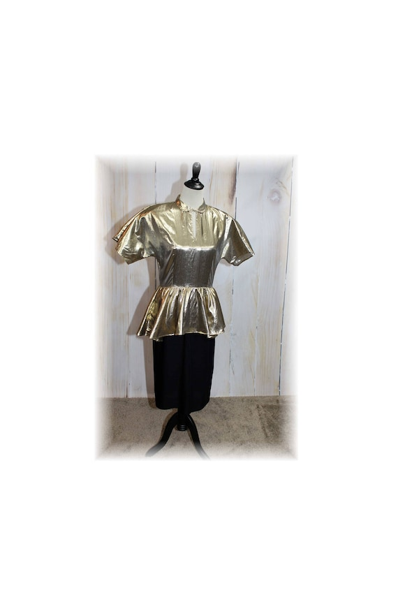 1980's Gold Lame and Black Club Dress / 1980's Pep