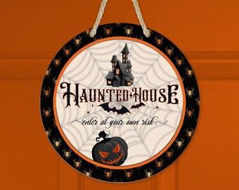 Haunted House Halloween Sublimation Png Jpg Designs, Digital Downloads, Round Door Hanger, Coaster, Ornament