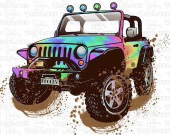 Tie Dye Jeep PNG Clipart, Printable Instant Digital Download, Sublimation Designs Graphics