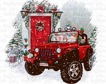 Santa Christmas Jeep Png Sublimation Clipart, Santa Jeep Wave, Instant Download, Sublimation Design Graphics, Printable Art