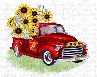 Red Sunflower Truck PNG, Clipart, Instant Digital Download, Sublimation Designs, Printable Art, Png Files for Tshirts