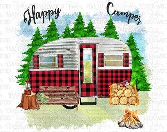 Happy Camper Png Clipart, Instant Digital Download, Sublimation Designs, Printable Art