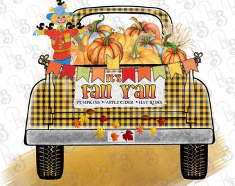 Pumpkin Truck PNG Clipart, It's Fall Yall Instant Download, Fall Sublimation Designs Graphics