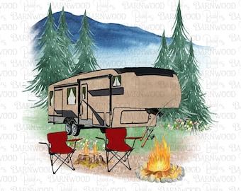 5th Wheel Camper RV PNG Clipart, Instant Digital Download, Sublimation Designs, Happy Camper