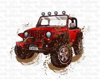 Dirty Red Jeep PNG Clipart, Printable Instant Digital Download, Sublimation Designs Graphics