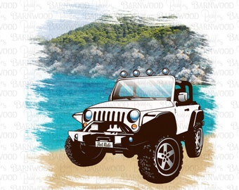 Jeep at the Lake PNG Clipart, Hot Ride, Instant Download, Sublimation Design Graphics, Printable Art