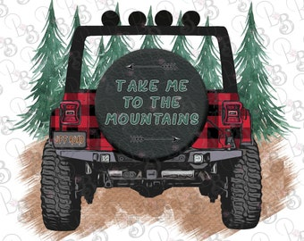 Buffalo Plaid Jeep Png Clipart, Take me to the Mountains, Instant Digital Download, Sublimation Design Graphics
