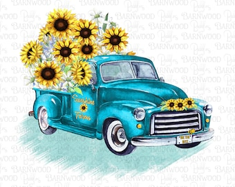 Sunflower Truck PNG  Clipart, Instant Digital Download, Sublimation Designs, Printable Art, Teal Truck Png Files for Tshirts