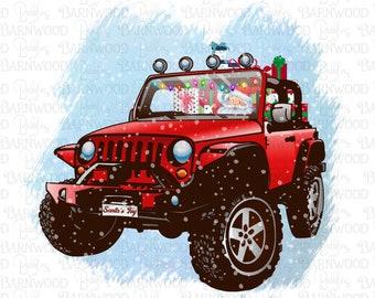 Santa Driving Christmas Jeep PNG Clipart, Instant Download, Sublimation Design Graphics, Printable Art
