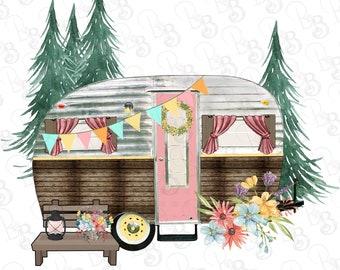 Spring Happy Camper Pink Door Travel Trailer Glamper Clipart PNG, Retro Vintage Trailer, Instant Download, Sublimation Design