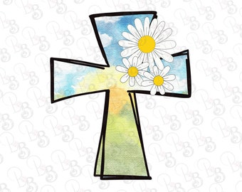 Cross and Flowers PNG Clipart, Instant Download, Sublimation Design Graphics, Clip Art,  Christian, Sunshine