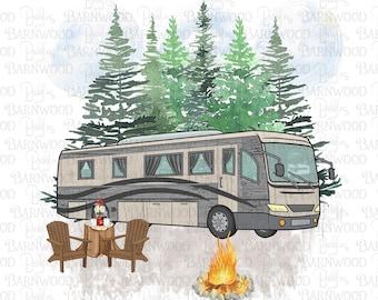 Motorhome PNG Clipart, Rv Camper, Instant Digital Download, Sublimation Designs, Happy Camper