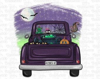 Halloween Vintage Truck Sublimation Png, Witch Truck, Blessed Be Png Clipart, Instant Download, Printable Sublimation Designs