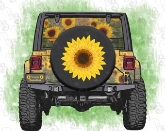 Sunflower Jeep Hippie Jeep Clipart, Instant Download, Sublimation Design Graphics, Jeep PNG, Clip Art, Love and Sunshine Jeep