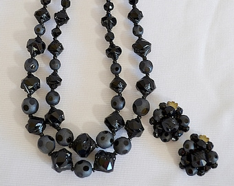 Vintage Art Deco Chunky Black Polka Dotted and Pressed Glass Bead Double Strand Necklace and Clip Earrings Set