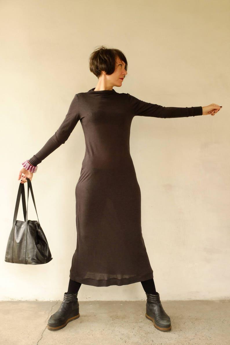 9ac3e851f7b Gris Maxi-Maxi robe tunique hiver laine