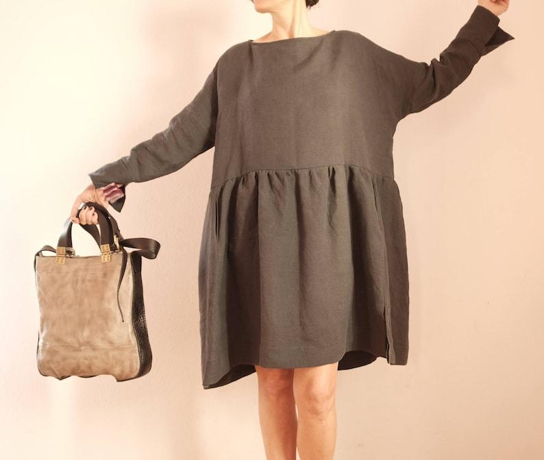 1804ed1295 Szary lniana sukienka len sukienka tunika z len pościel luźna