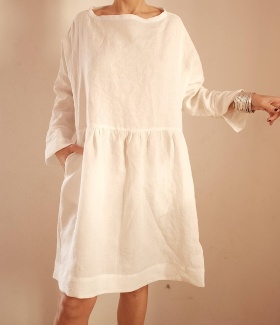 Linen Dresses For Women White Linen Tunic Oversized Linen Dress Oversized Smock Dress Linen Clothing Loose Fitting Linen Dress