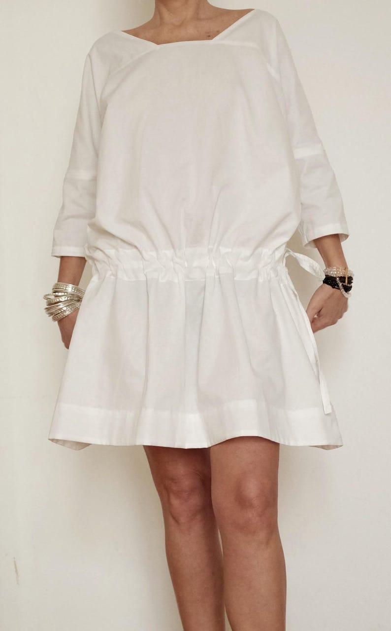 size 40 99191 3d1b4 Vestito Bianco In Cotone - Abito In Cotone Bianco - Tunica Bianca In Cotone  - Vestito Ampio Bianco - Casacca Bianca - Vestiti Bianchi XXL