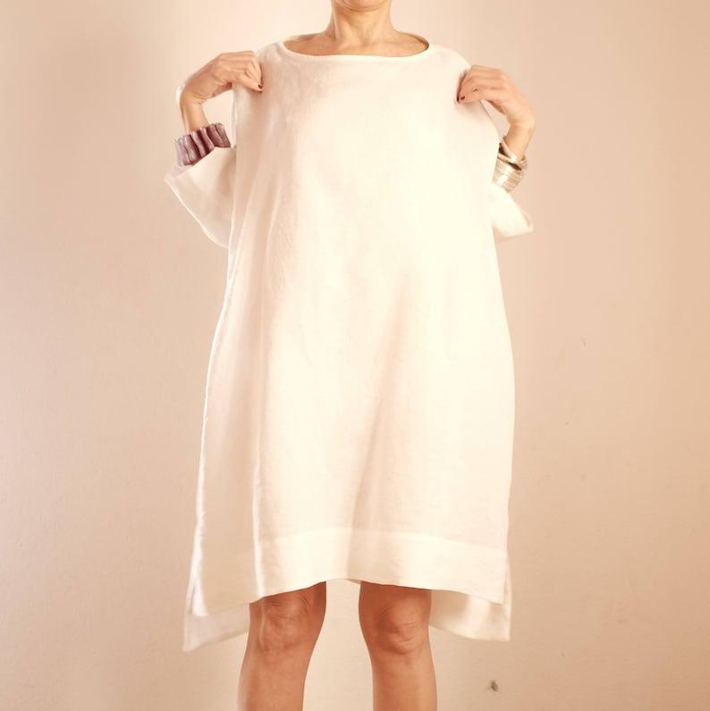 10bed6c54a Suknia lniana-Maxi tunika Bianca-oversize suknia lniana-tunika