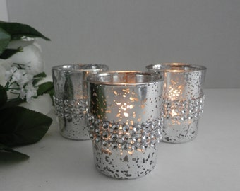 12 Wedding centerpiece rhinestone mercury glass candle holder , Wedding decorations, votive candle,  wedding table decoration