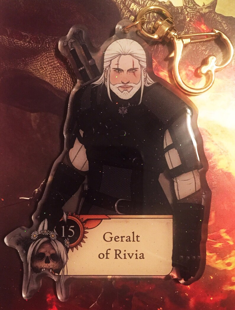 LAST STOCK GLITTER: Witcher 3 Gwent Double Sided Acrylic Charms [Pre-Order  - Geralt, Ciri, Yennefer, Triss]
