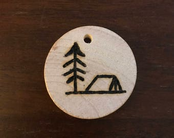 Tree and Tent Camping Scene Keychain or Ornament