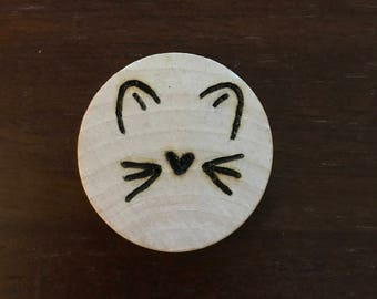 Cat Face Keychain or Ornament