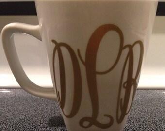 Monogrammed Coffee Mug/ Glass- Glitter Monogrammed Coffee Mug- Lilly Pulitzer Monogrammed Coffee Mug