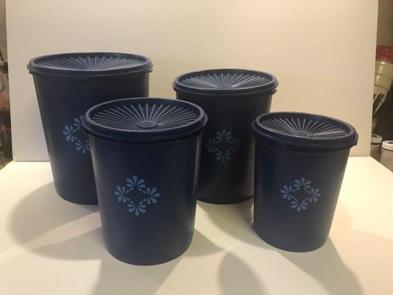 Vintage Tupperware Kitchen Storage Containers Dark Blue With Blue Flowers Set Of 4