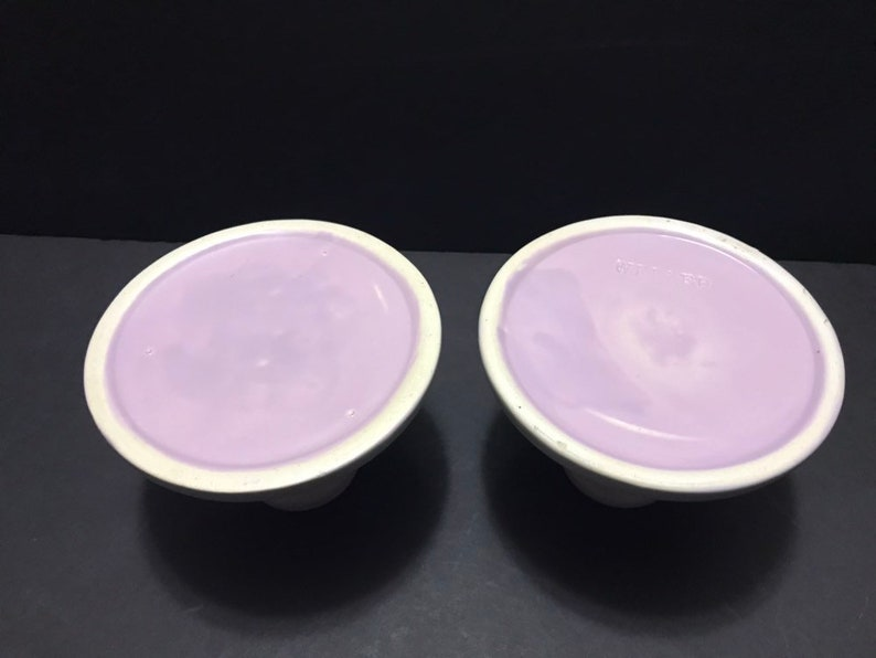 Weller Pottery Candleholders Hobart Line Hard to Find Pastel Colors Rare Find