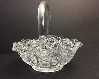 Vintage L E Smith Heritage Quintec Design Glass Handled Basket
