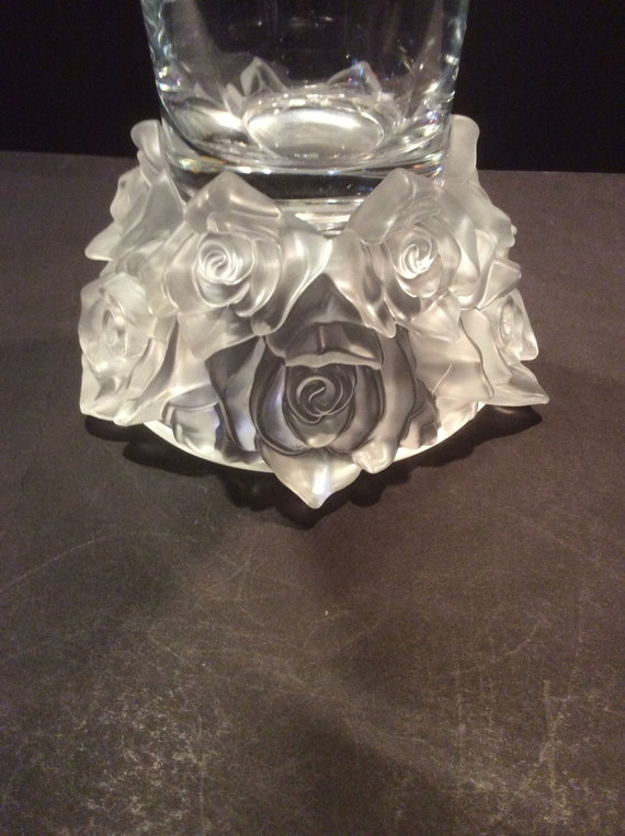 Shannon Crystal Vase Designs Of Ireland Frosted Roses Bouquet Etsy