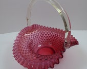 Vintage Fenton Cranberry Hobnail Opalescent Basket with Clear Bamboo Handle