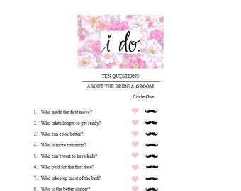 Bridal Shower Game - How Well Do You Know The Bride and Groom? Instant Download