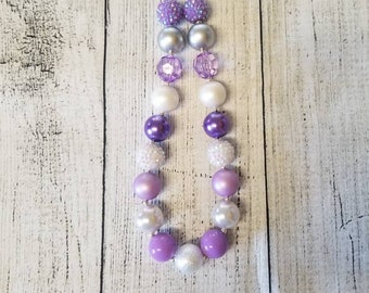 White and lavender chunky necklace