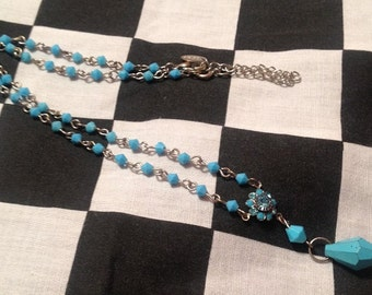 Vintage Baby Blue Claire's Necklace - 1990s Trendy Y-Style Necklace - As If!
