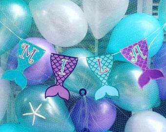 Mermaid Birthday Banner, Mermaid Banner, Mermaid Birthday Party, Decoration, The little mermaid, Ariel, Princess Ariel, Birthday Banner
