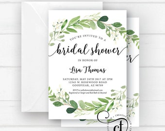Greenery bridal shower invitation, Bridal Shower invite, bridal shower invitation with greenery, boho bohemian, Bridal Shower invite, Floral