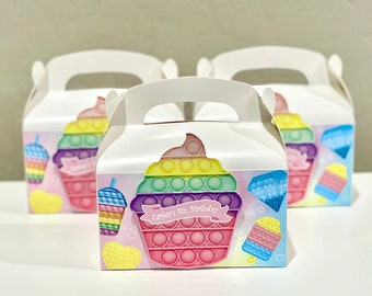 Pop it Favor Bags, Gable Box pop it birthday party favor bags favor tags fidget toy, fidget toy birthday party, bubble sensory poppit pop-it