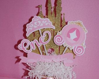 Princess Centerpieces, Pink & Gold, Disney Princess, Princess Party, Girl Party, Princess Birthday, Princess Decoration, Pink Gold Glitter
