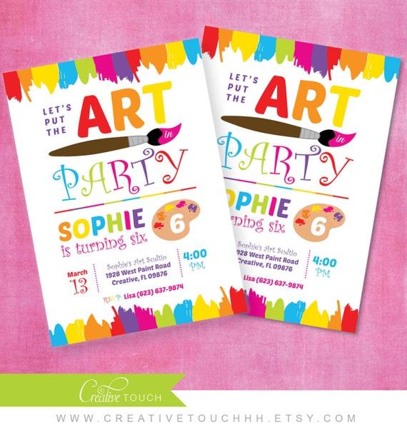 art party invitation art party invite rainbow art party etsy
