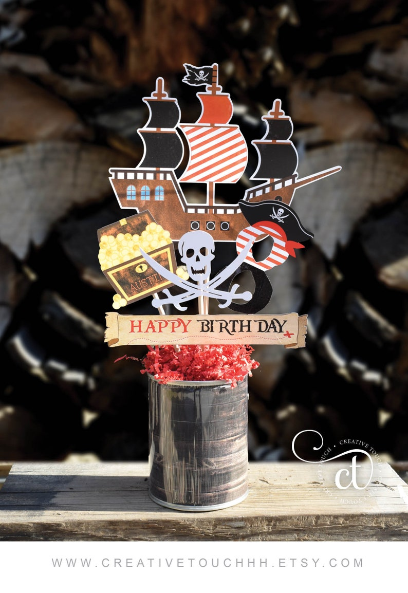Pirate Centerpiece, Birthday, Party, Pirate Ship, Pirate, Boy Party, Ahoy  Matey, at Sea, Jake Birthday, Pirate Decorations (#1)