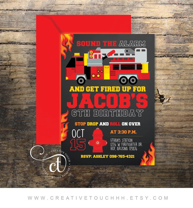 Firefighter Birthday Invitation Firefighter Invitation Etsy